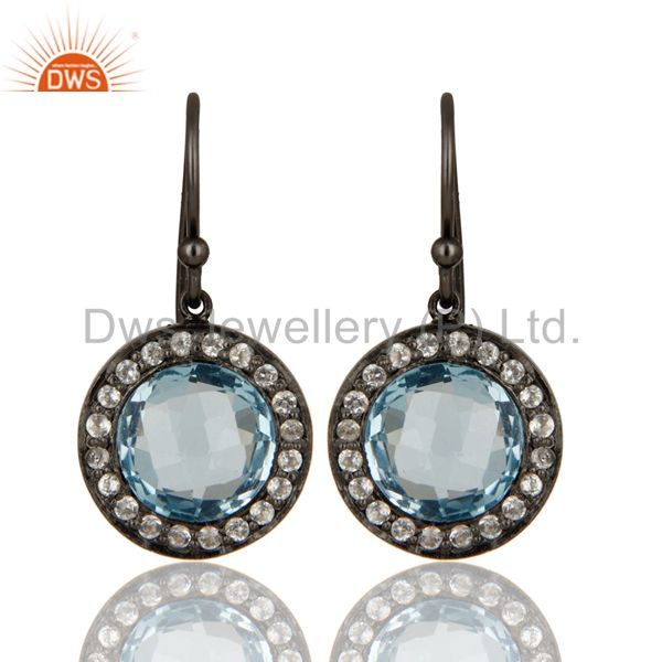Oxidized Sterling Silver Blue Topaz And White Topaz Halo Dangle Earrings