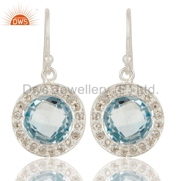 Solid 925 Sterling Silver Blue Topaz And White Topaz Halo Dangle Earrings