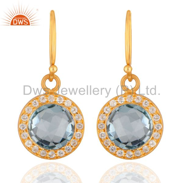 14K Yellow Gold Plated Sterling Silver Blue Topaz And White Topaz Halo Earrings