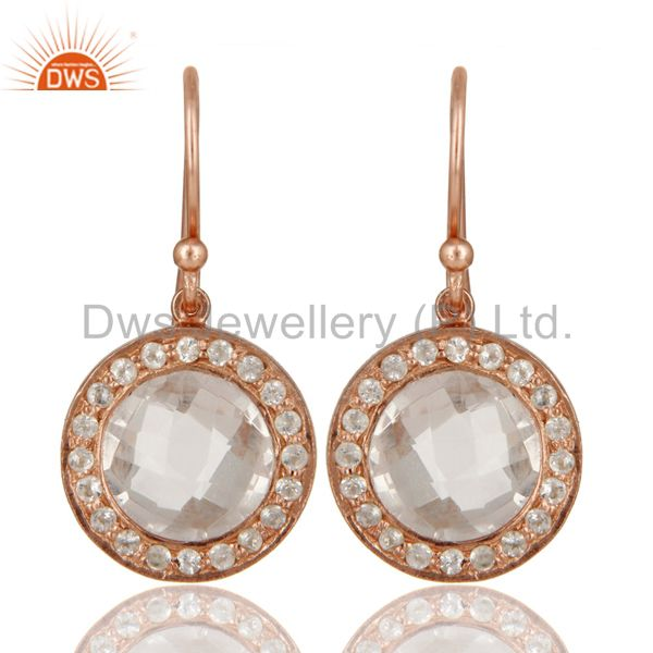 18K Rose Gold Plated Sterling Silver Crystal Quartz & White Topaz Dangle Earring