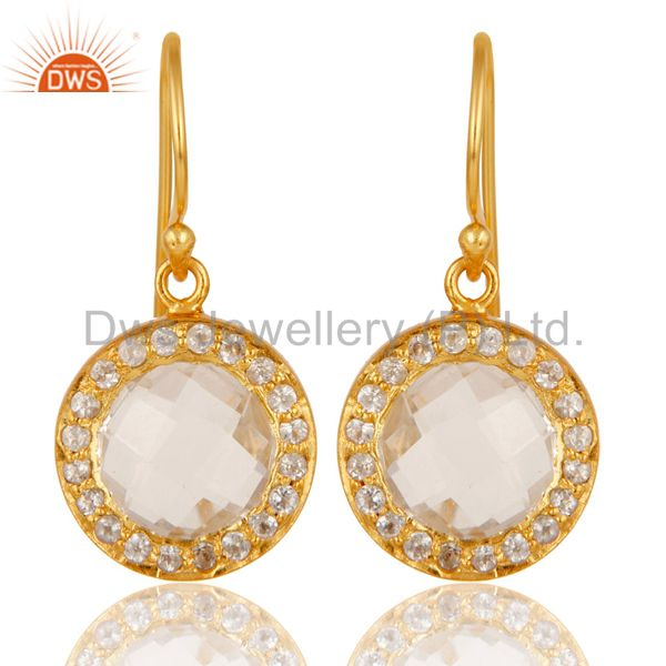 18K Gold Plated Sterling Silver Crystal Quartz & Topaz Halo Style Drop Earrings