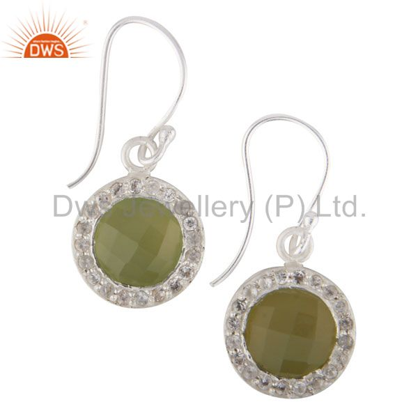 Solid 925 Sterling Silver Dyed Chalcedony & White Topaz Halo Drops Earrings