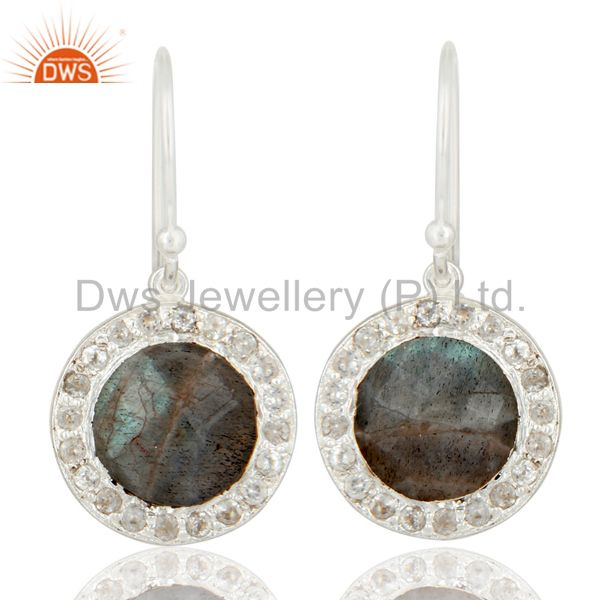 925 Sterling Silver Labradorite And White Topaz Halo Style Dangle Earrings