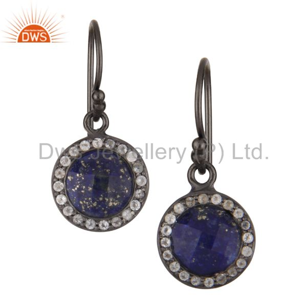 Oxidized Sterling Silver Lapis Lazuli And White Topaz Halo Style Drop Earrings