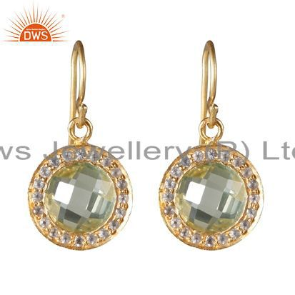 18K Yellow Gold Plated Sterling Silver Lemon Topaz And White Topaz Earrings