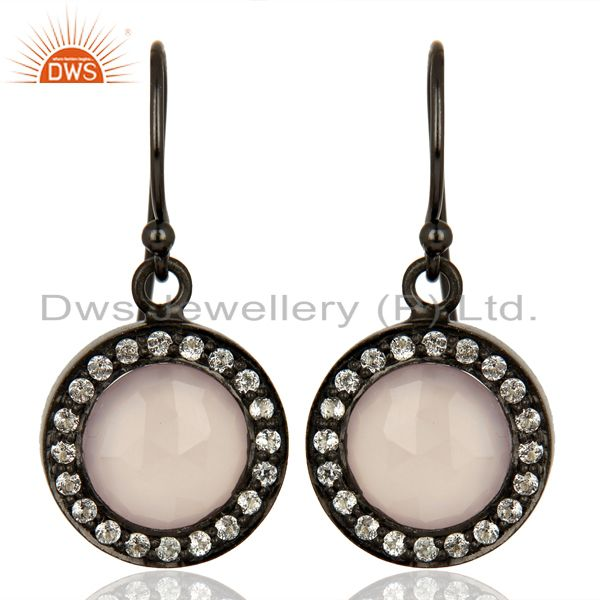 Rose Chalcedony White Topaz Dangle Black Oxidized 925 Sterling Silver Earrings