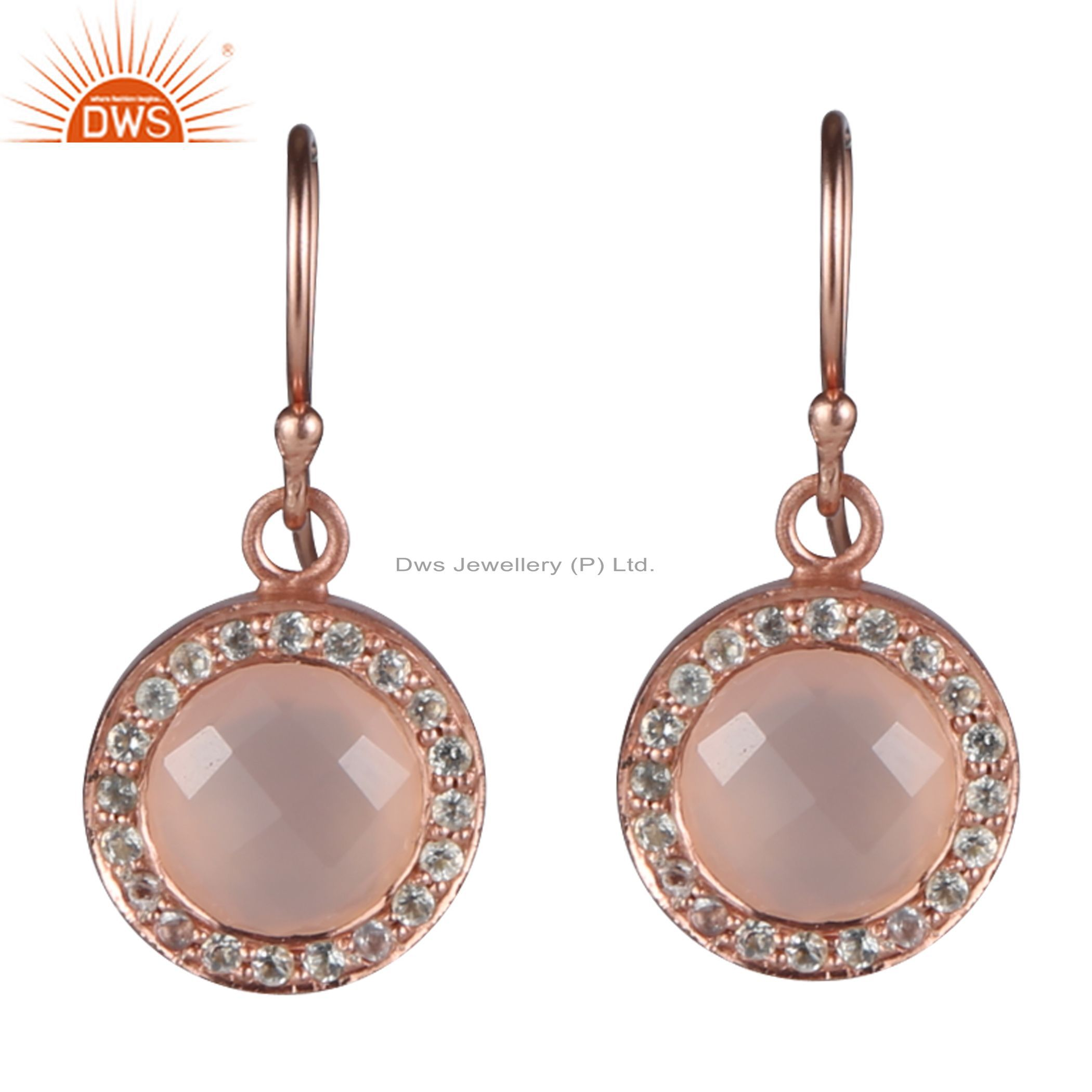18K Rose Gold Plated Silver Rose Chalcedony And White Topaz Halo Earrings