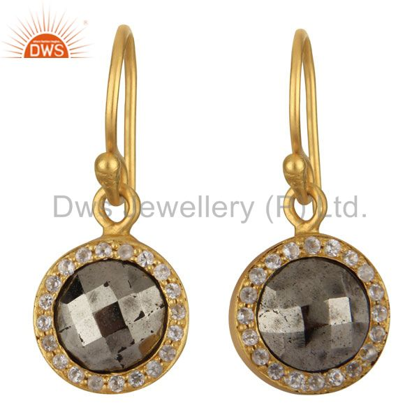 18K Yellow Gold Plated Sterling Silver Pyrite And White Topaz Halo Drop Earrings