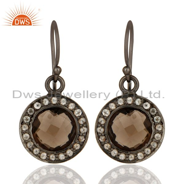 Oxidized Solid Sterling Silver White Topaz And Smoky Quartz Drop Earrings