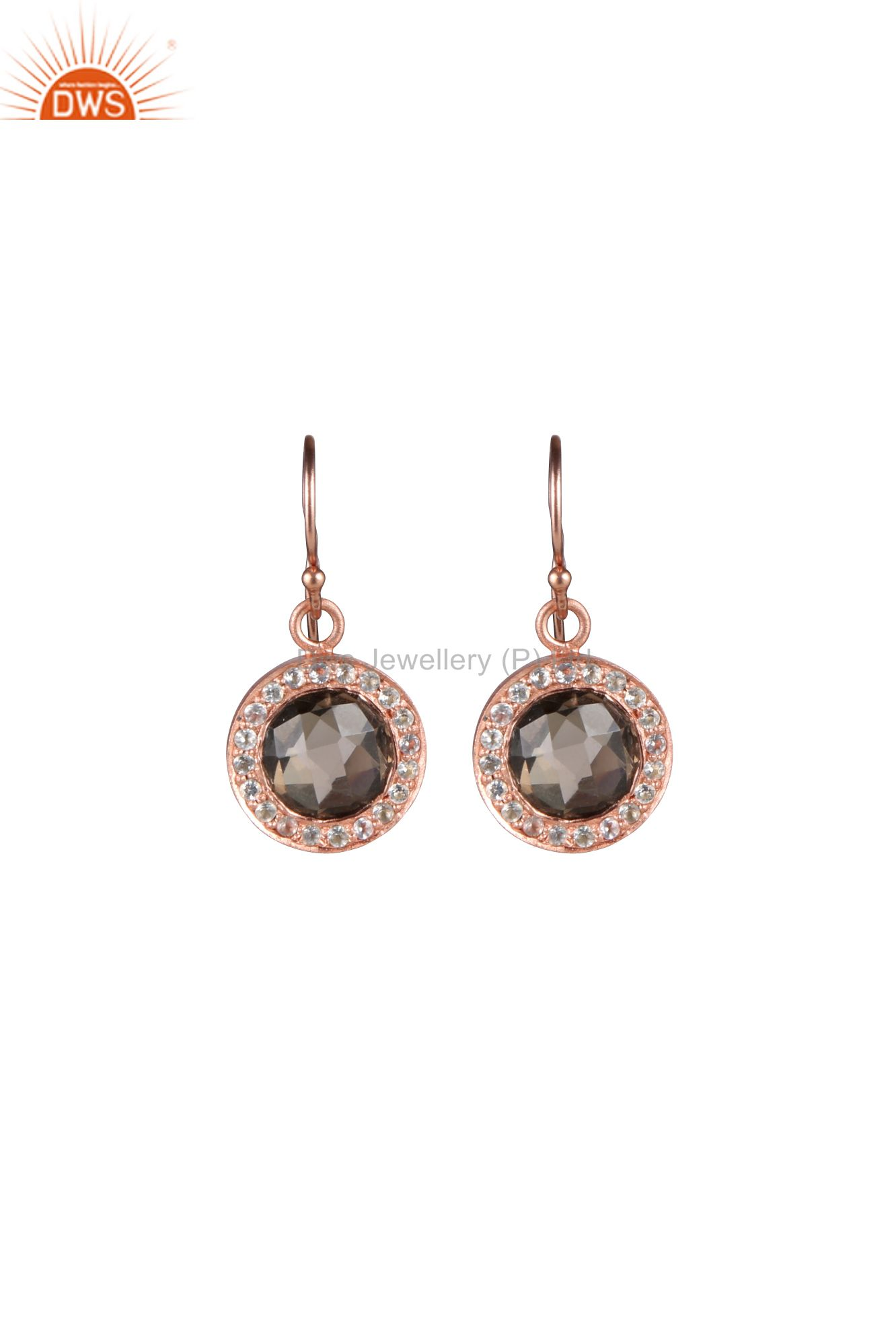 18K Rose Gold Plated Sterling Silver Smoky Quartz And White Topaz Halo Earrings