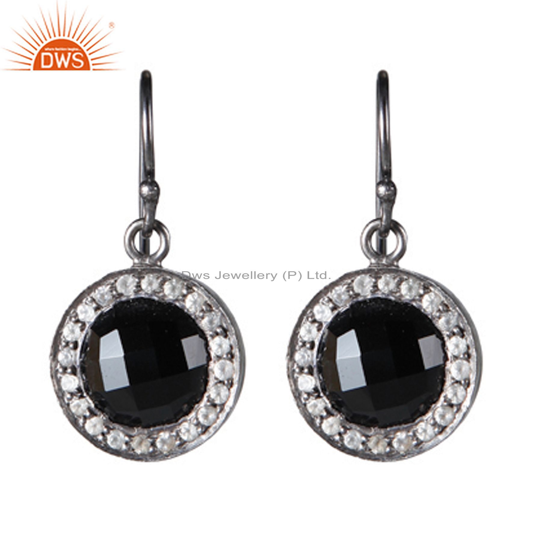 Oxidized Sterling Silver Black Onyx And White Topaz Halo Style Dangle Earrings