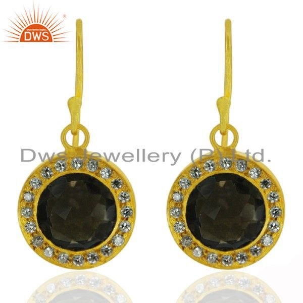 22K Yellow Gold Plated Sterling Silver Smoky Quartz And CZ Drop Earrings