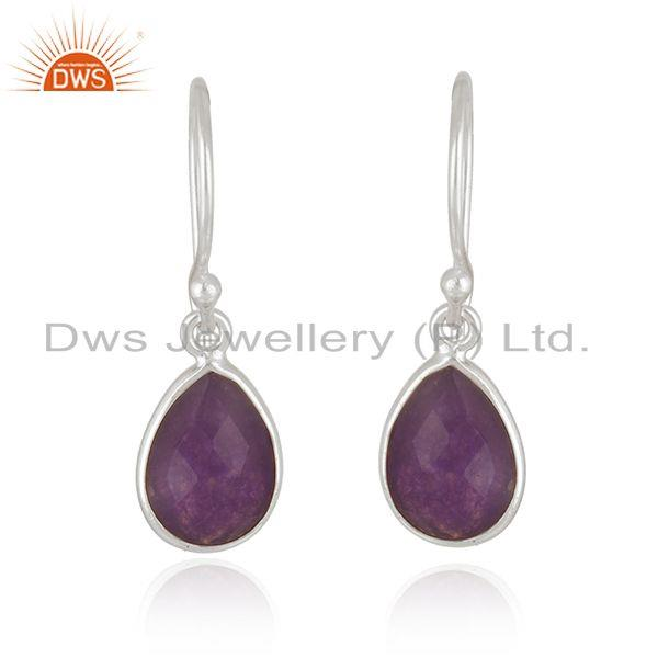 Aventurine Purple Stone Fine Sterling Silver Earrings Manufacturer
