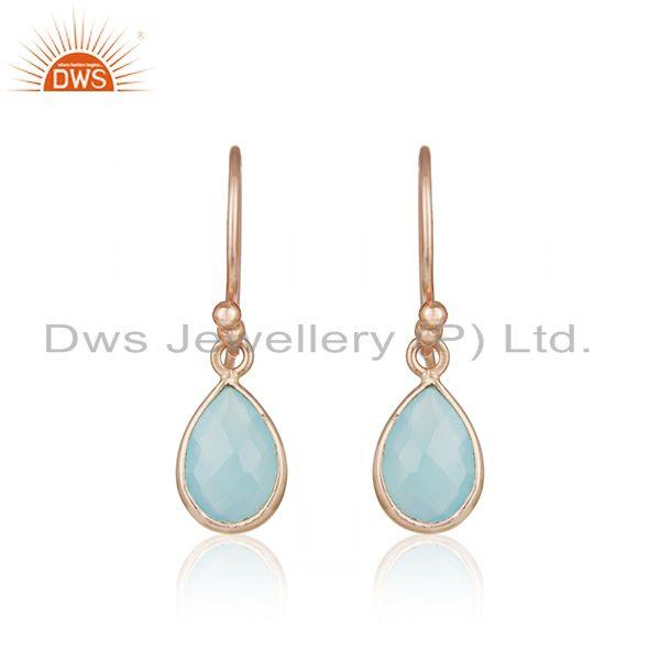Aqua Chalcedony Gemstone Rose Gold Plated 925 Silver Earrings Supplier