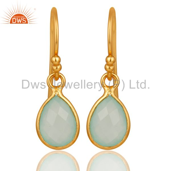 Aqua Chalcedony Gemstone Drop Earrings in 14K Yellow Gold Over Sterling Silver