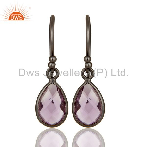 Handmade Sterling Silver With Oxidized Amethyst Gemstone Bezel Dangle Earrings