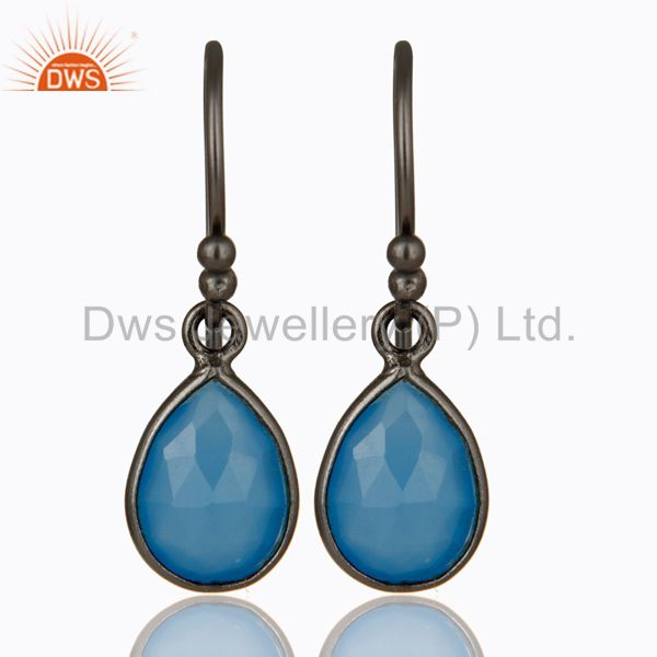 Oxidized Sterling Silver Faceted Blue Chalcedony Bezel Set Teardrop Earrings