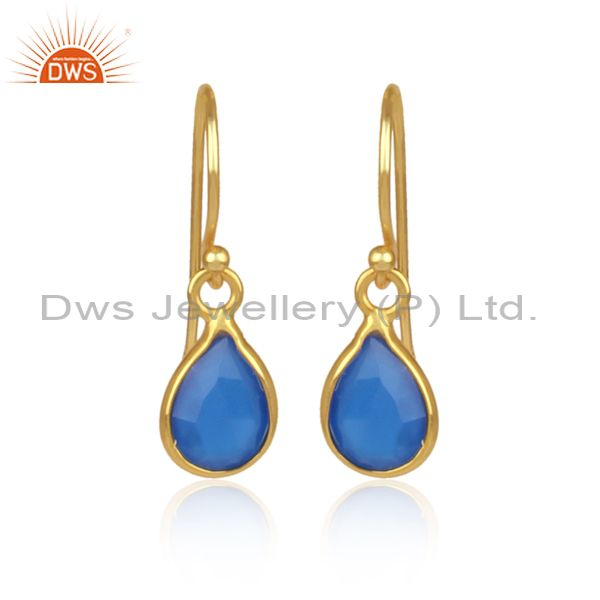Faceted Dyed Chalcedony Gemstone Sterling Silver Drop Earrings - Gold Plated
