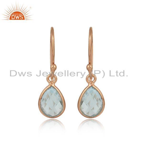 Rose Gold on Silver Bezel Set Drop Earrings With Natural Blue Topaz