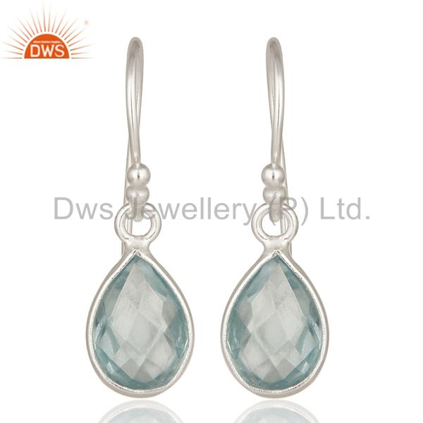 925 Sterling Silver Natural Blue Topaz Gemstone Bezel Set Drop Earrings