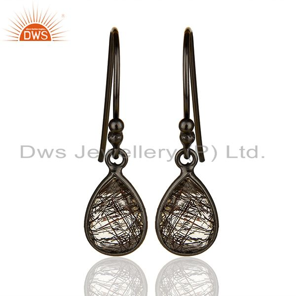 Handmade 925 Silver Black Rutile Gemstone Girls Drop Earrings Jewelry