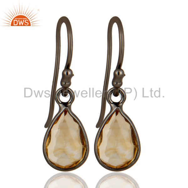 Oxidized Sterling Silver Natural Citrine Gemstone Bezel Set Teardrop Earrings