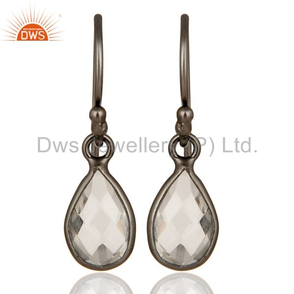 Oxidized Sterling Silver Faceted Crystal Quartz Bezel Set Teardrop Earrings