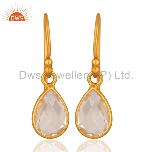 18K Yellow Gold Plated Sterling Silver Crystal Quartz Bezel Set Teardrop Earring