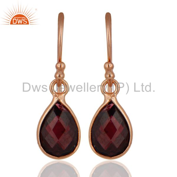 18K Rose Gold Plated Sterling Silver Garnet Bezel Set Drop Pendant With Chain
