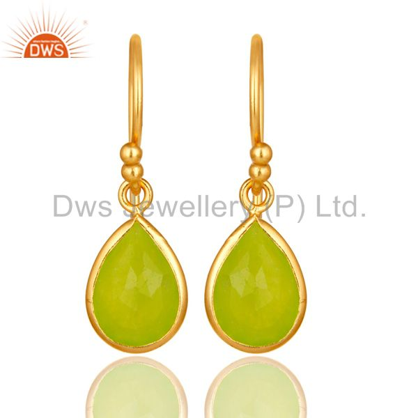 18K Yellow Gold Plated Sterling Silver Green Chalcedony Bezel Set Dangle Earring