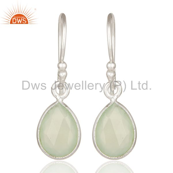 925 Sterling Silver Green Chalcedony Gemstone Bezel Set Earrings