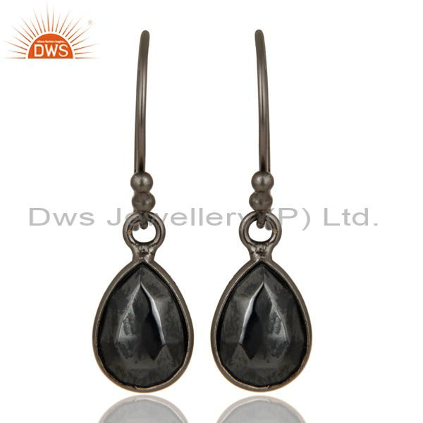 Oxidized Solid Sterling Silver Faceted Pyrite Bezel Set Gemstone Drop Earrings