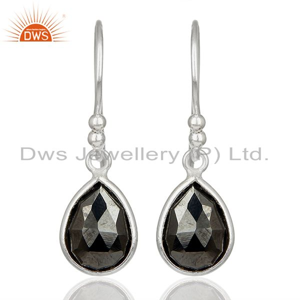 Hematite Gemstone 925 Silver Tiny Drop Earrings Jewelry Manufacturer