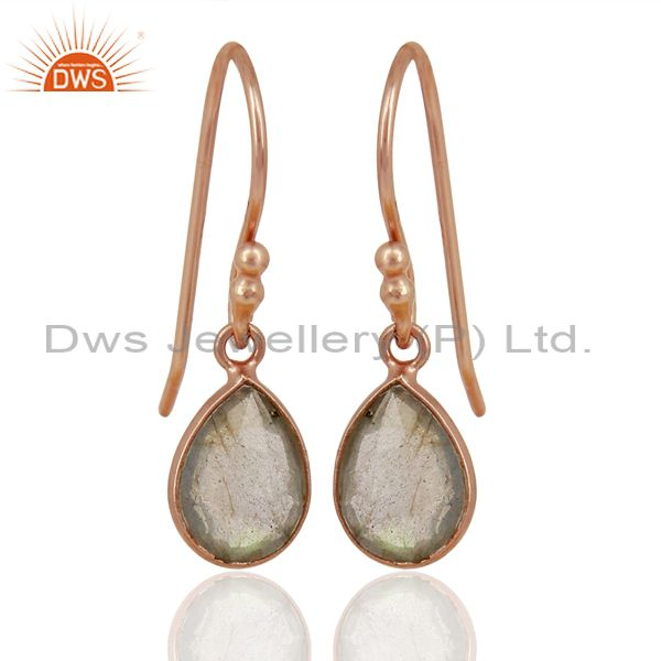 18K Rose Gold Plated Sterling Silver Faceted Labradorite Bezel Set Drop Earrings