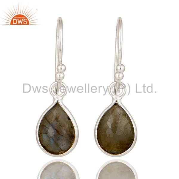 925 Sterling Silver Faceted Labradorite Bezel Set Teardrop Earrings