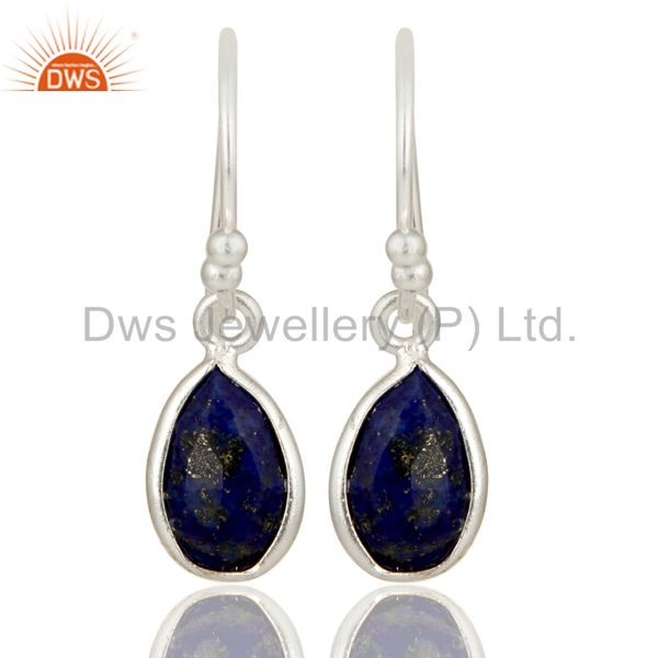 Natural Lapis Lazuli Gemstone 925 Sterling Silver Earrings