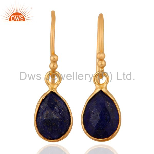 Natural Lapis Lazuli Gemstone 925 Sterling Silver Earrings With 24k Gold Plated
