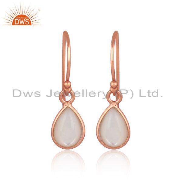 Mother Of Pearl Set Rose Gold On Silver Pear Shaped Earrings