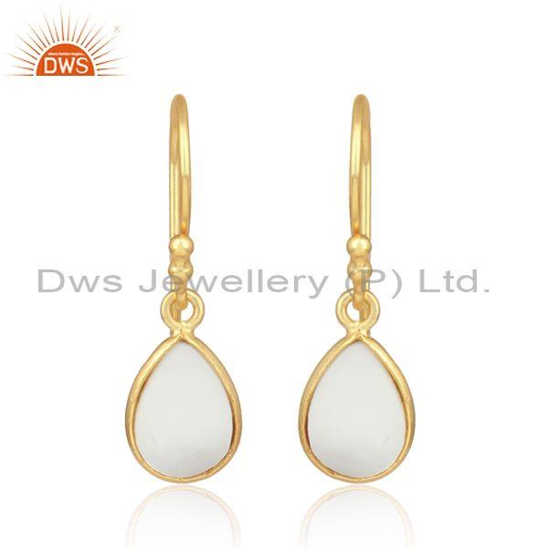 Mother of pearl set gold on silver oval statement earring