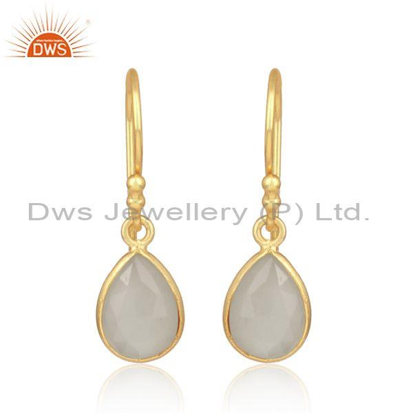 White moon stone set gold on silver oval dangler earrings