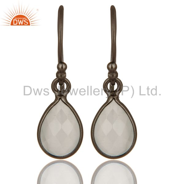 Black Rhodium Plated Sterling Silver White Moonstone Gemstone Drop Earrings