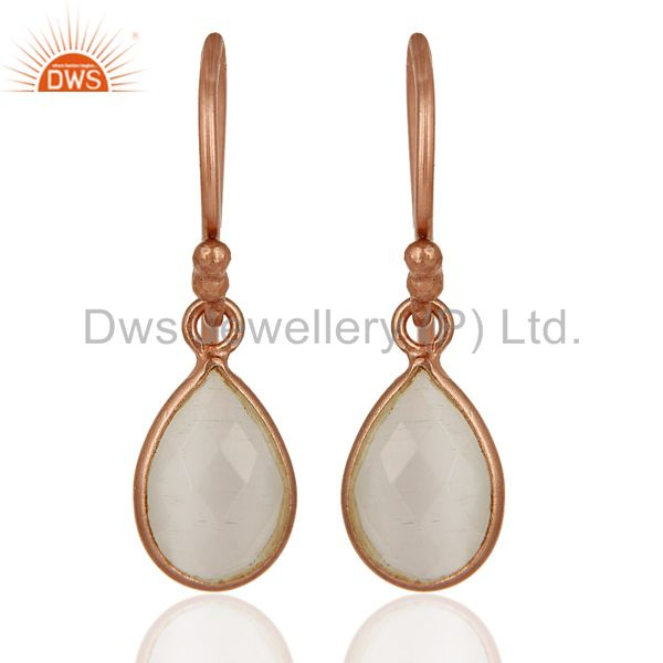 18K Rose Gold Plated Sterling Silver Faceted White Moonstone Bezel Drop Earrings