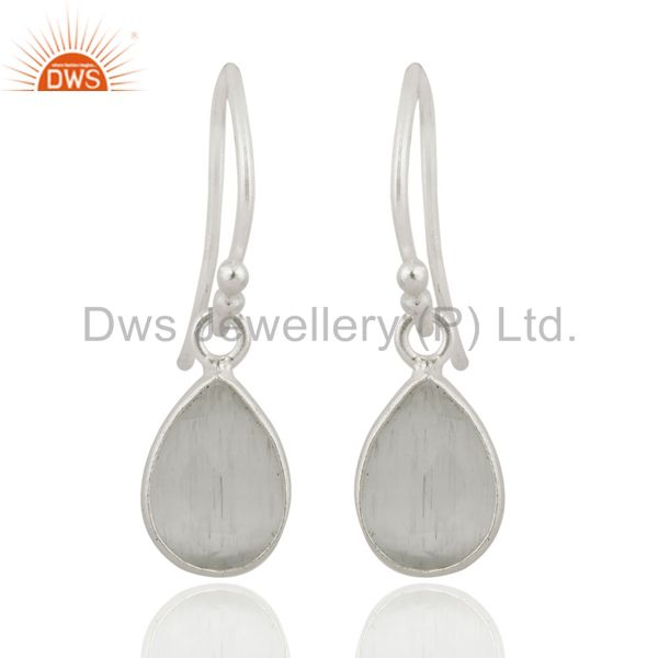 925 Sterling Silver Faceted White Moonstone Bezel Set Teardrop Earrings