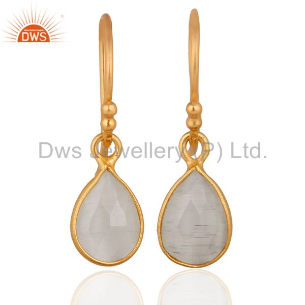 925 Sterling Silver Rainbow Moonstone Dangle Earrings With 24k Gold Plated