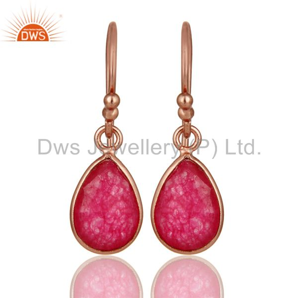 18K Rose Gold Plated Sterling Silver Red Aventurine Bezel Set Teardrop Earrings
