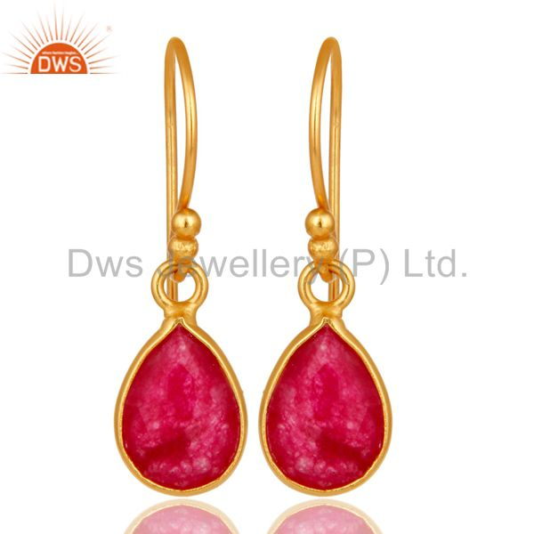 18K Yellow Gold Plated Sterling Silver Red Aventurine Bezel Set Dangle Earrings