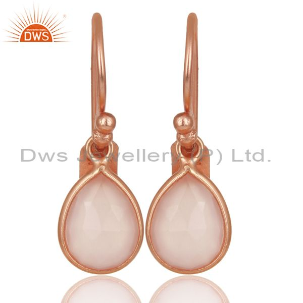 14K Rose Gold Plated Sterling Silver Rose Chalcedony Bezel Set Drop Earrings