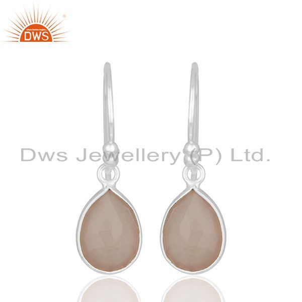 Handmade 925 Silver Rose Chalcedony Gemstone Drop Earrings Wholesale