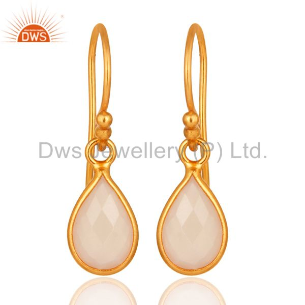 18K Yellow Gold Plated Sterling Silver Rose Chalcedony Bezel Set Dangle Earrings