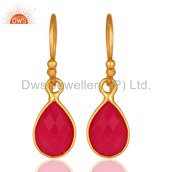 18K Yellow Gold Plated Sterling Silver Pink Chalcedony Bezel Set Drop Earrings